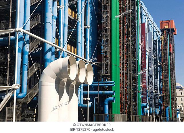 Pompidou Center or Centre Georges Pompidou, also known as Beaubourg, Paris, France, Europe