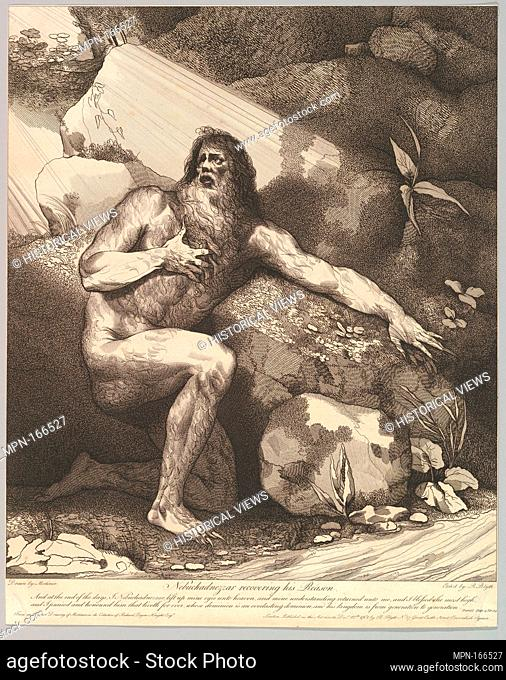 Nebuchadnezzar Recovering His Reason. Artist and engraver: Etched and published by Robert Blyth (British, ca. 1750-1784); Artist: After John Hamilton Mortimer...