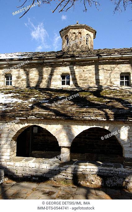 Snowy Mikro Papingo village. Mikro Papingo, Ioannina, Epiros, Greece, Europe
