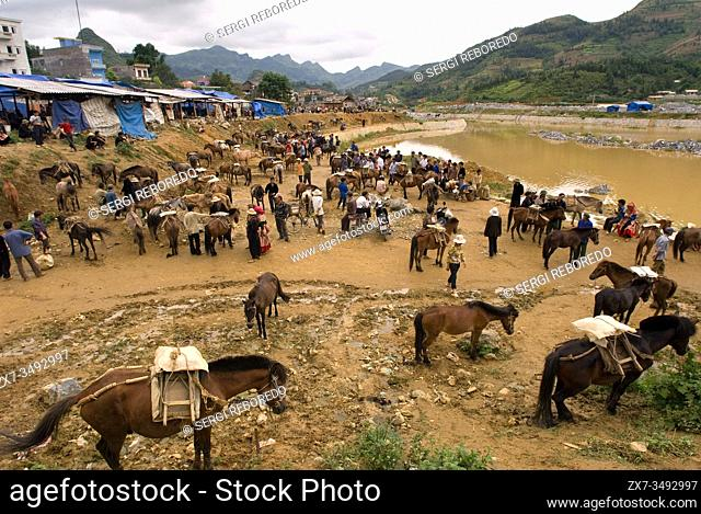 Bac Ha market. Hmong Horse market and food and drink place. Sapa. Vietnam