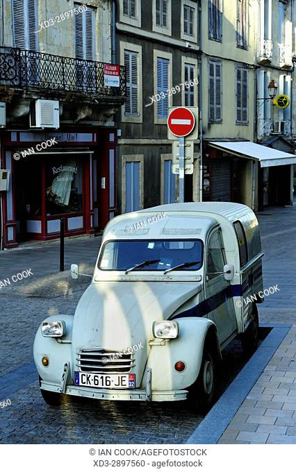 parked Citroen 2CV van, Condom, Gers Department, New Aquitaine, France