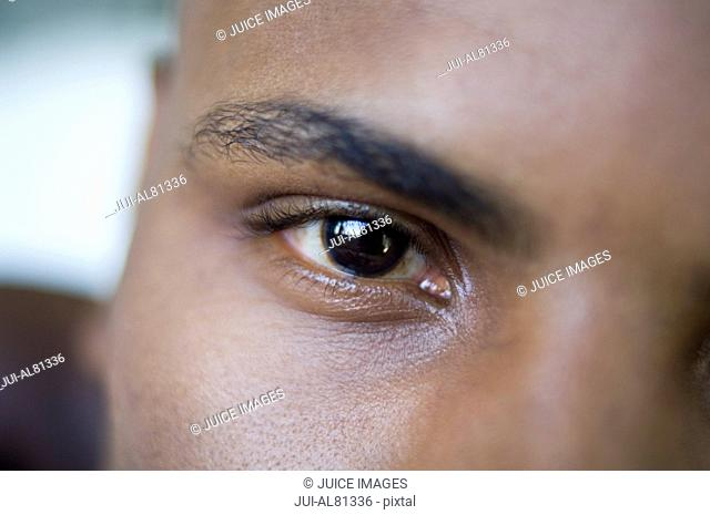 Extreme close up of African man's eye