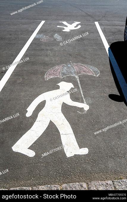 Bornholm, Gudhjem, footpath, chalk painting