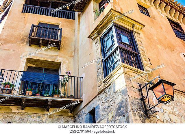 Plaza Mayor, Main Square. Albarracin, medieval fortified city. Teruel, Aragón, Spain, Europe