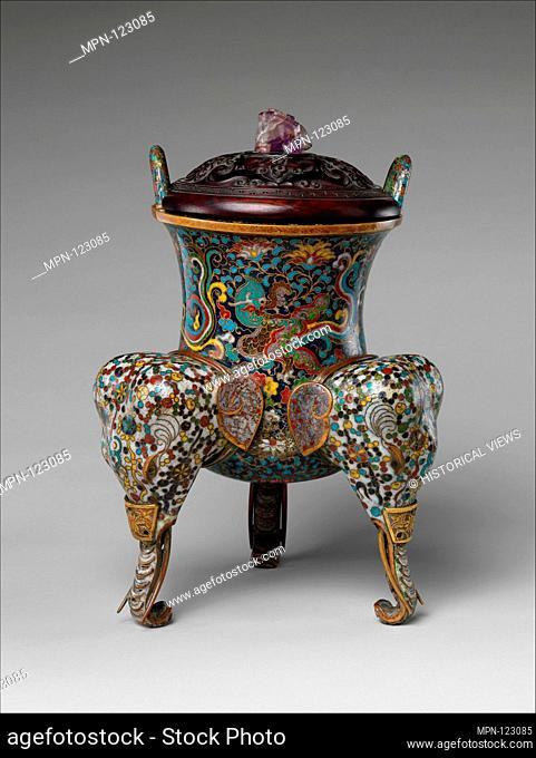 Incense Burner. Period: Ming dynasty (1368-1644); Culture: China; Medium: Cloisonné enamel on copper; Dimensions: H. (vessel) 13 in. (33 cm); W