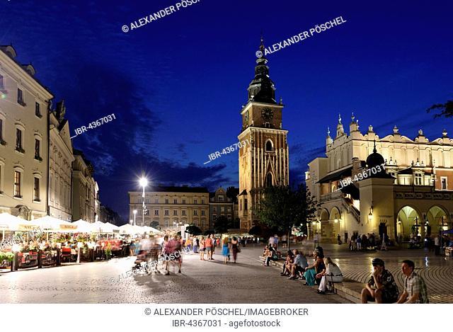 Market Square, Cloth Hall, Town Hall Tower, Night Scene, historic centre, Kraków, Poland