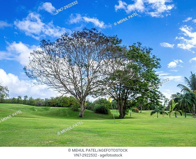 Golf course at Maritim Resort and Spa Hotel, Balaclava, Mauritius. The golf course at this five star hotel on the northern coast of Mauritius is a nine hole par...
