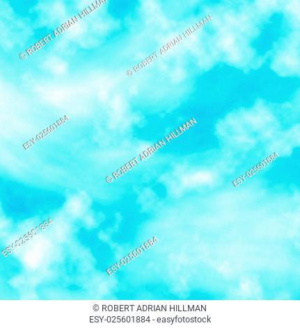 Editable vector illustration of fluffy white clouds in a blue sky made with a gradient mesh