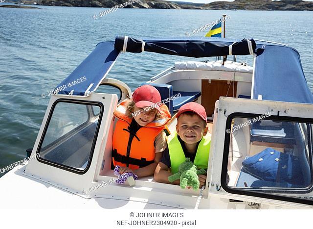 Kids on boat
