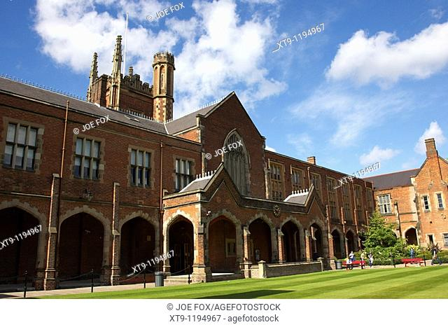 rear of Queens University of Belfast main Lanyon Building and quad Northern Ireland uk