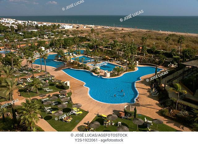 Islantilla beach and Puerto Antilla Grand Hotel, Lepe, Huelva-province, Spain