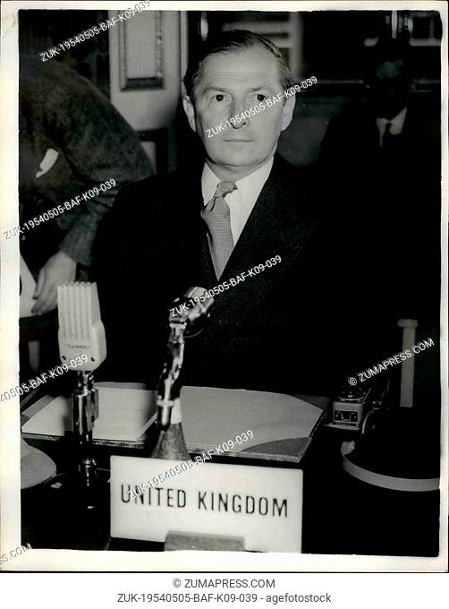 May 05, 1954 - H-talks start in London : D legates from Britain, the united states, France, Canada and Russis, mat in Lancaster house, St
