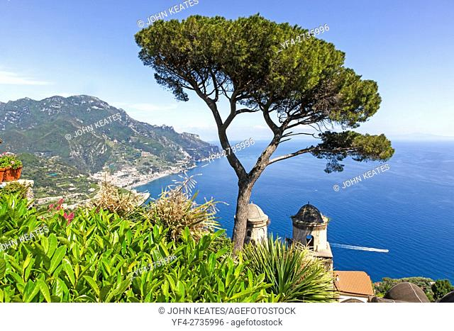 A view of the Amalfi Coast from the formal gardens at Villa Rufolo Ravello Amalfi Coast Italy Europe