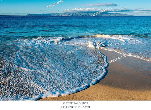 Ocean tides on beach, Maui, Hawaii
