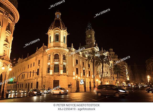Exterior of Valencia council offices ajuntament de valencia at night