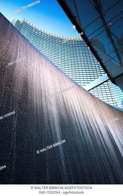 USA, Nevada, Las Vegas, CityCenter, waterfall wall detail