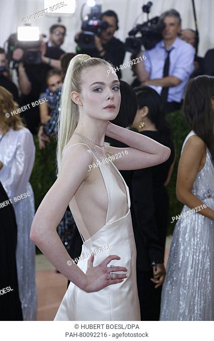 Elle Fanning attends 'Manus x Machina: Fashion In An Age Of Technology' Costume Institute Gala at Metropolitan Museum of Art in New York City, USA