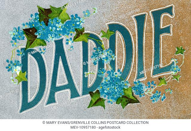 Daddie Postcard - with forget-me-nots and ivy leaves