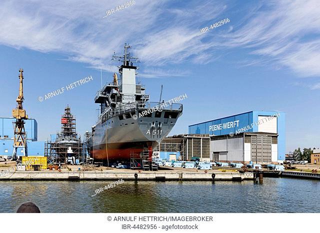 Ships in the shipyard, Peene shipyard, Peenestrom, Baltic Sea, Wolgast, Mecklenburg-Western Pomerania, Germany