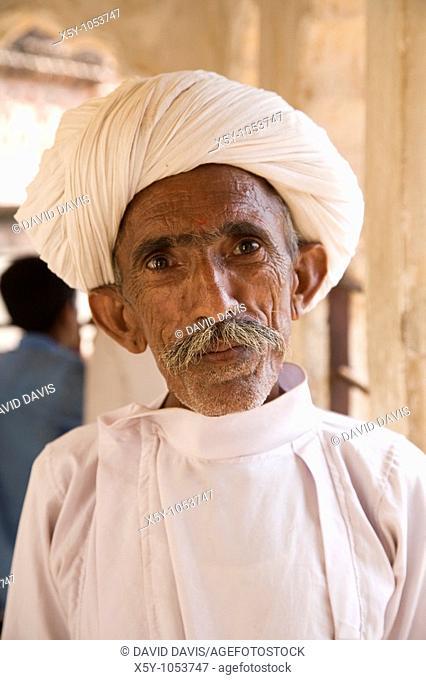 A Hindu man standing in Fort Mehrangarh in Rajasthan India