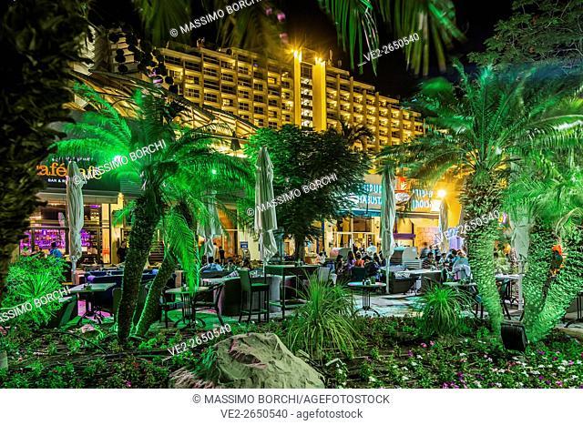 Israel, Southern District, Eilat. Dan Eilat Hotel, restaurants