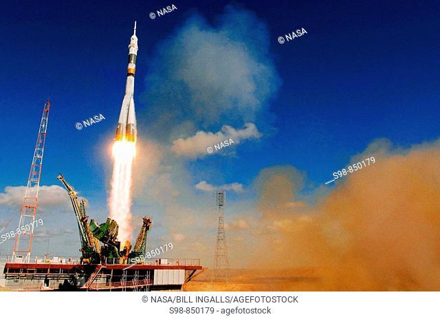 The Soyuz TMA-13 spacecraft, carrying Expedition 18 Commander Michael Fincke, Flight Engineer Yury V. Lonchakov and American Spaceflight Participant Richard...