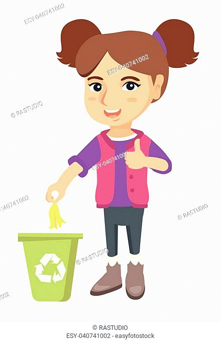 Caucasian girl throwing banana peel in recycling bin. Girl putting banana peel in trash bin with recycling sign and giving thumb up