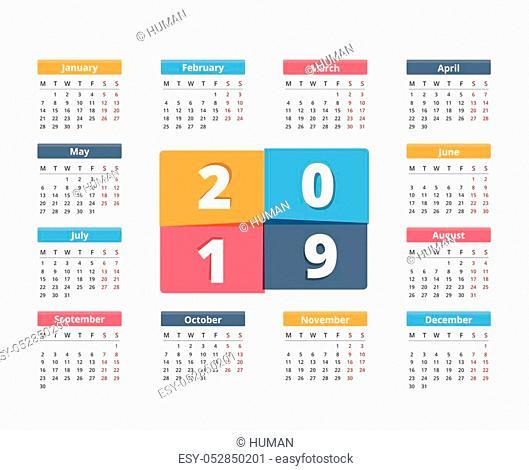 2019 Calendar, week starts on Monday, vector eps10 illustration