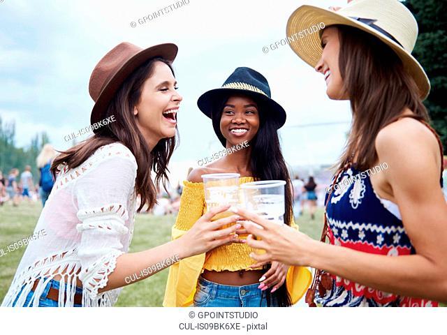 Friends drinking in music festival