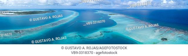aerial view Reef barrier los castillos los roques venezuela