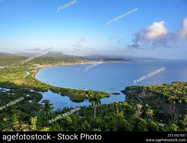 View over Bahia de Miel towards city and El Yunque Mountain, Baracoa, Guantanamo Province, Cuba