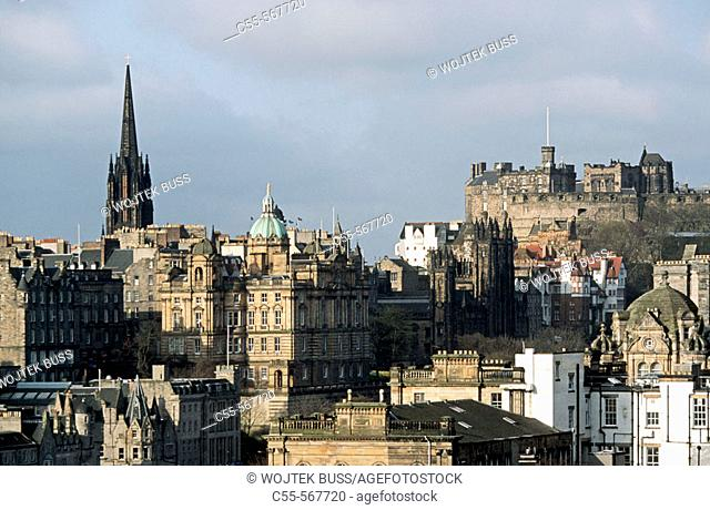 View from Calton Hill. Bank of Scotland. Edinburgh castle. Edinburgh. Scotland. UK