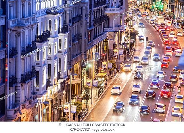 Gran Via street. Madrid, Spain
