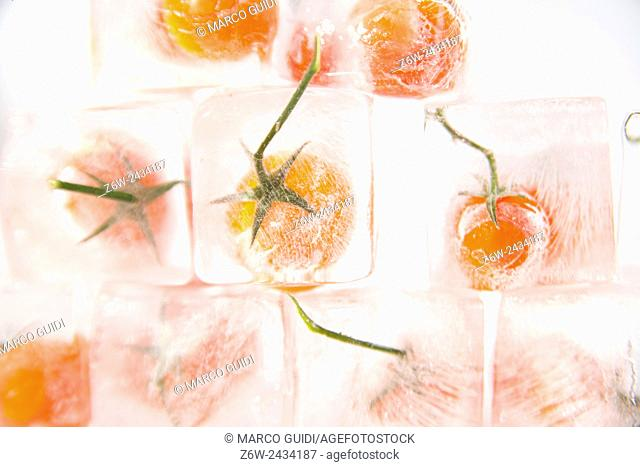Presentation of ice cubes inside with grains of tomato Pachino