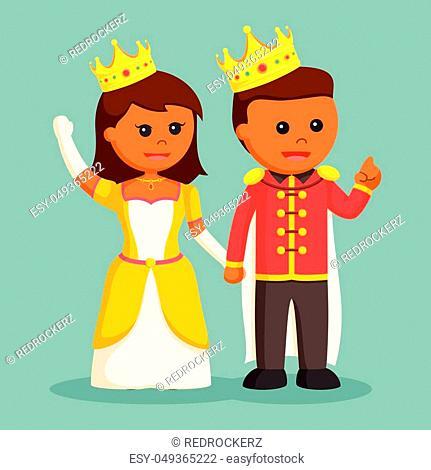 Prince and princess holding hand