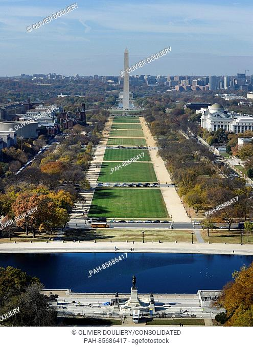 The Mall and the Washington Monument can be seen looking west from the top of the recently restored US Capitol dome, November 15, 2016 in Washington, DC