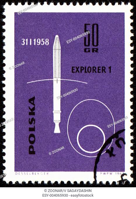 POLAND - CIRCA 1963: A stamp printed in Poland shows american spaceship Explorer-1