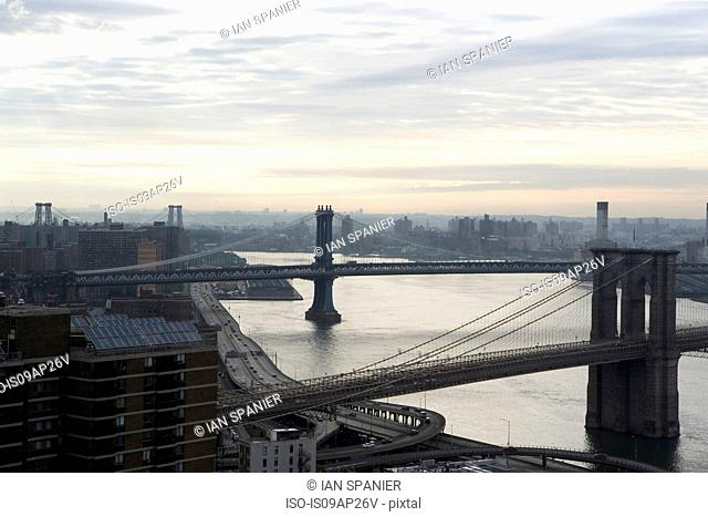 Elevated view of Brooklyn, Williamsburg and Manhattan Bridges, New York, USA