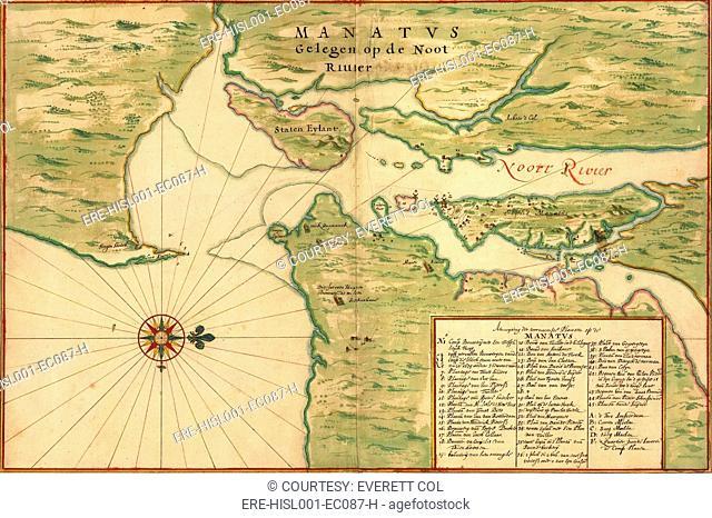 New Amsterdam in 1639. Earliest map shows Manhattan, Staten Island, Fort Amsterdam, Brooklyn, Bronx, plantations, windmills, Indian Villages