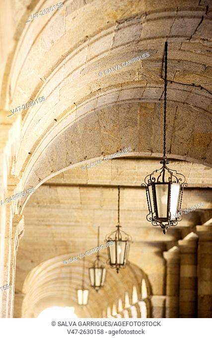 Portico of the town hall of Santiago de Compostela, Plaza del Obradoiro, La Coruna, Galicia, Spain, Europe
