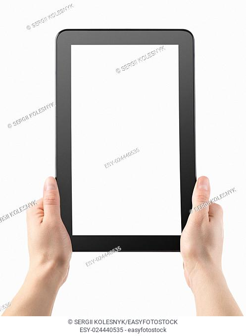 Tablet in hands isolated on a white background