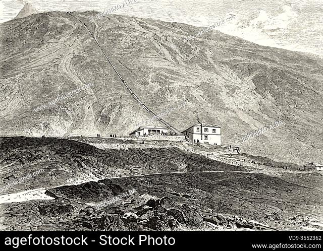 Mount Vesuvius funicular railroad, seen from the base of the volcanic cone. Naples, Italy, Europe. Old 19th century engraved illustration