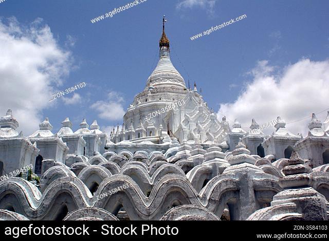 Terraced Hsinbyume Paya in Mingun, Mandalay, Myanmar