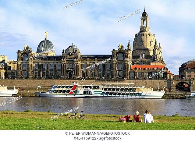 Elbe River to the Bruehl's Terrace with academy of arts, the dome of the Frauenkirche-church Dresden, Saxony, Germany