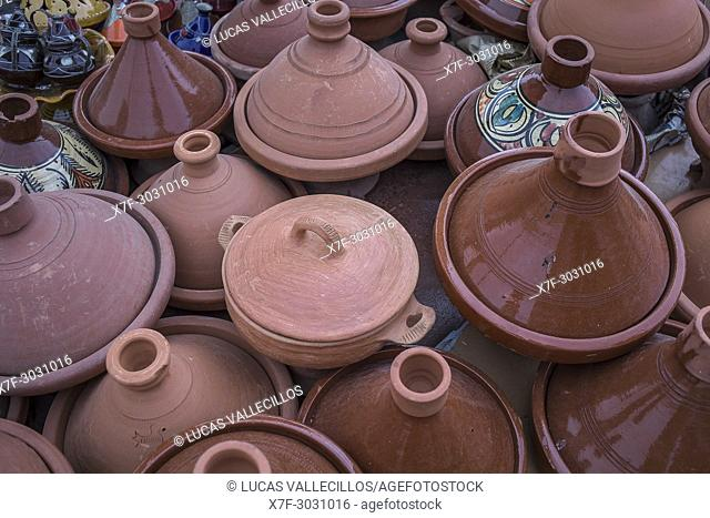 Tajine pottery for sale, souvenir shop, El Hedim Square, Meknes, Morocco