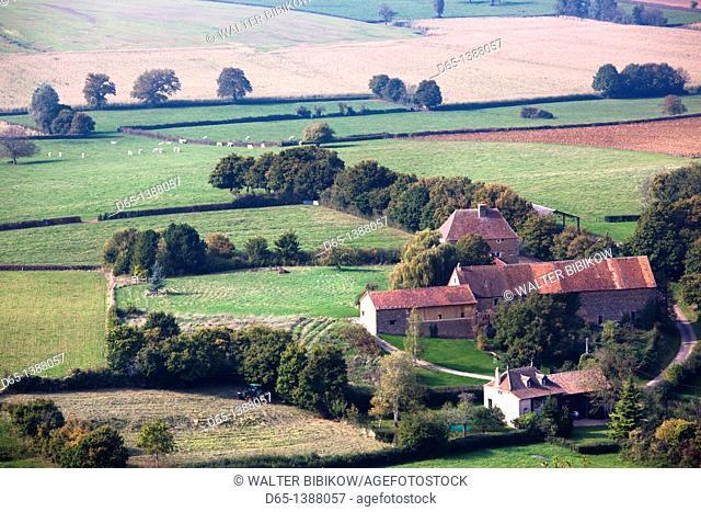 France, Saone-et-Loire Department, Burgundy Region, Maconnais Area, Brancion, valley view