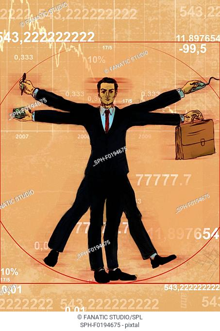 Businessman Vitruvian Man, illustration