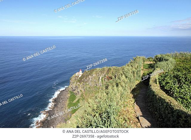 Sao Miguel Azores islands Portugal. Panorama from above and Arnel lighthouse