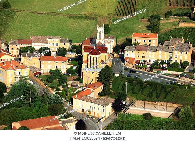 France, Rhone, Beaujolais, Les Pierres Dorees, Cogny, the church aerial view