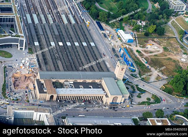 Aerial view of the Stuttgart Hauptbahnhof at the beginning of the construction site